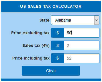 Alabama State Tax Rate >> US sales tax calculator - CalculatorsWorld.com