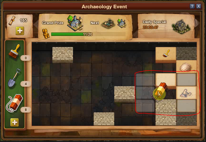 how to use dynamite in Archaeology  tomb