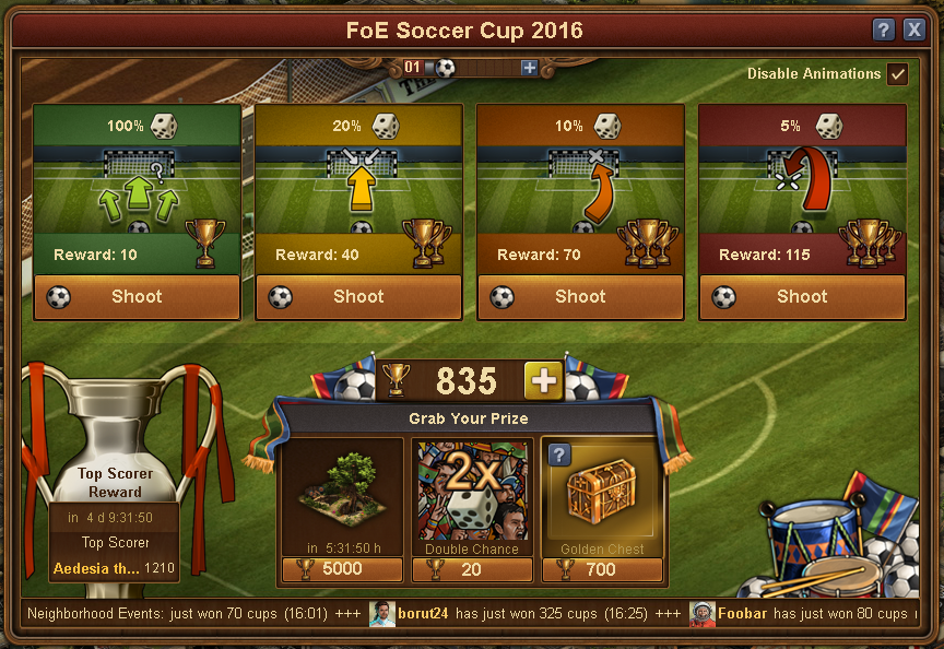 FoE Euro Cup 2016, Event Window
