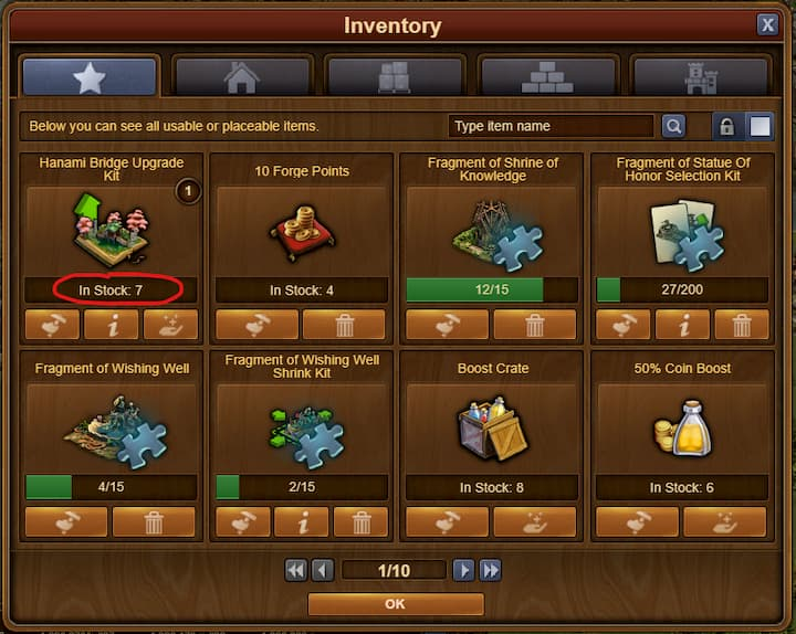 Forge Of Empires Spring event-2020-inventory-Hanami bridge Upgrade kit