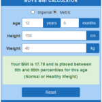 boys BMI calculator